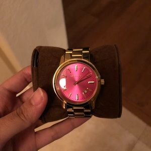 Michael Kors Gold watch hot pink face, have tag